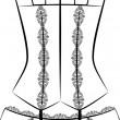 Vintage corset with beautiful ornament on the background. Vector — Stock fotografie