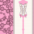 Vintage corset with beautiful ornament on the background. Vector — Foto de Stock