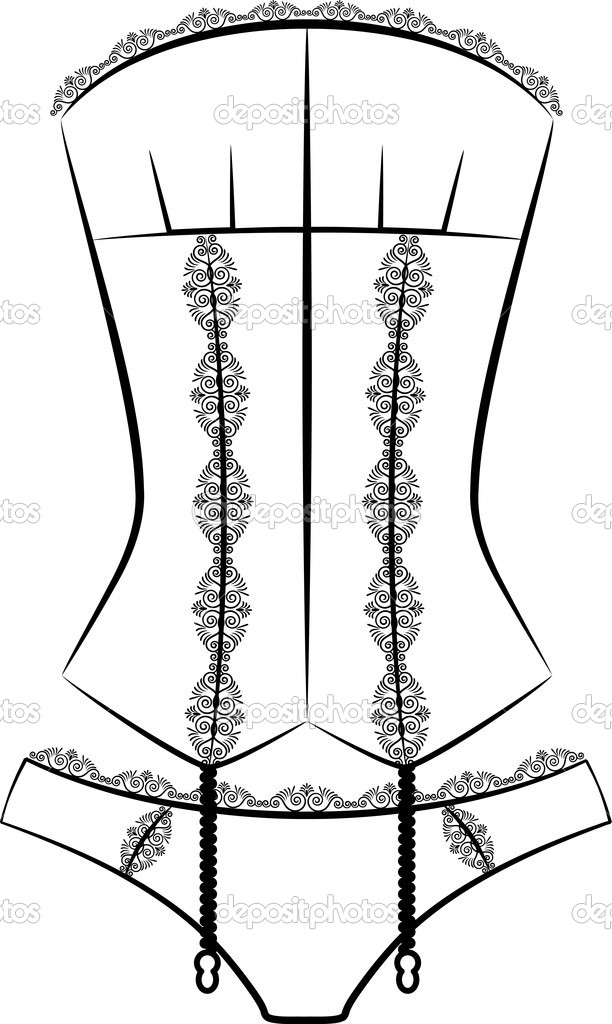 Vintage corset with beautiful ornament on the background. Vector — Stock Photo #8393091
