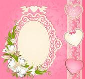 Fundo vintage com enfeites de rendas e flores. vector — Foto Stock
