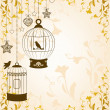 Vintage background with ornamental birdcages and birds - Stock Photo
