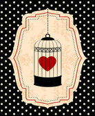 Vintage background with ornamental birdcages and red heart — Stock Photo