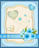 Vintage background with lace ornaments and flowers. Vector — Stockfoto