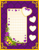 Vintage background with hearts and flowers — Stok fotoğraf