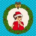 Cartoon little girl in suit Snow Maiden. Vector — Stock Vector #9291532
