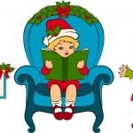 Cartoon little girls in suit Snow Maiden — Stock Vector #9291608