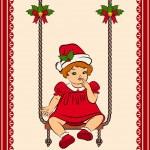Cartoon little girl in suit Snow Maiden on the swings. Vector — Stock Vector #9291640