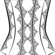 Vintage corset with beautiful ornament on the background. Vector — Stockvectorbeeld