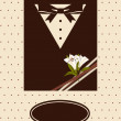 Vintage background with tuxedo shirt and bowtie close up — Stock Photo
