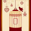 Vintage background with ornamental birdcages and bird — Stock Vector