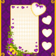 Vintage background with hearts and flowers — Image vectorielle