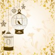 Vintage background with ornamental birdcages and birds - Векторная иллюстрация