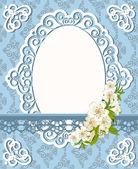 Vintage background with lace ornaments and flowers — Vettoriale Stock