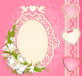 Vintage background with lace ornaments and flowers — ストックベクタ