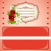 Vintage background with lace ornaments and flowers — Stockvektor