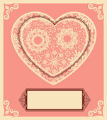 Vintage background with lace ornaments for Valentine's Day — Vector de stock