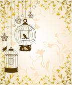 Vintage background with ornamental birdcages and birds — Vector de stock