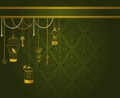 старинный фон с декоративные скворечники и птицы — Cтоковый вектор
