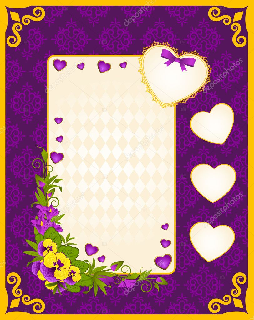 Vintage background with hearts and flowers — Stock Vector #9443167