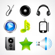 Abstract glossy music icon set - Stock vektor