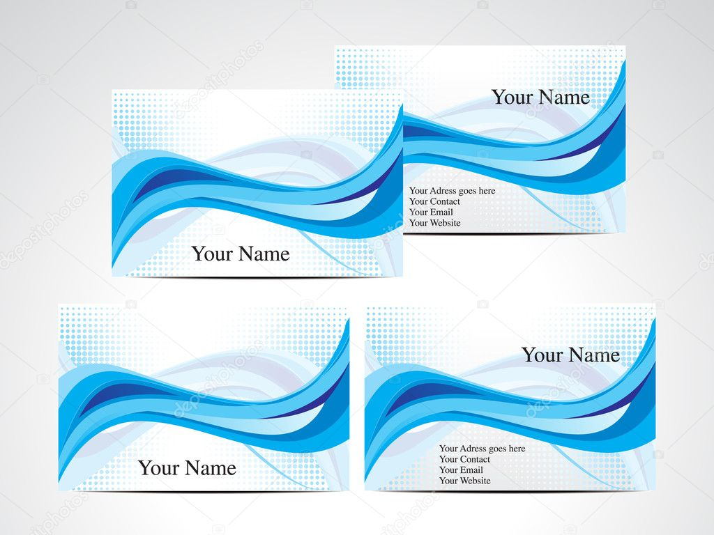 Abstract blue wave business card — Stock Vector
