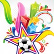 Abstract colorful background with football — Stock Vector