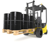 Forklift with Oil Drums. — Stock Photo