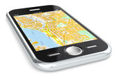 Smartphone and GPS map. — Stock Photo