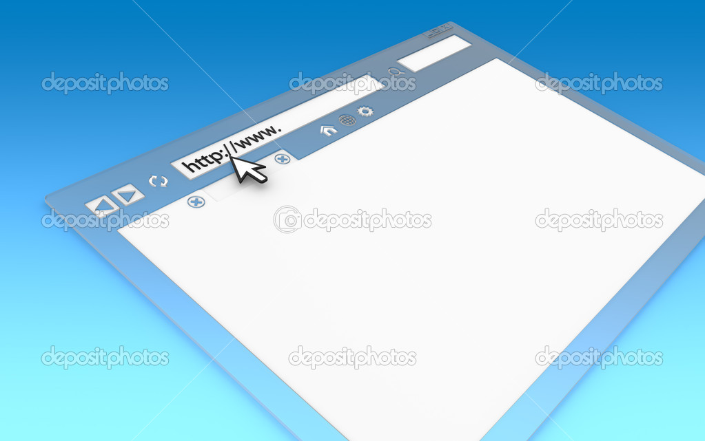 Perspective view of Browser Window. Transparent with blue faded background, copy space. — Stock Photo #8031851