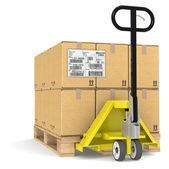 Pallet Truck with Shipping Label, EDI. — Stock Photo