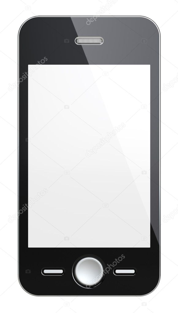 Black Smart Phone with blank Screen for Copy Space. Isolated  Stock Photo #9196873