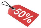 Price tag. 50 percent. — Stock Photo