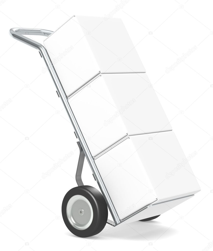 Hand Truck with boxes, white backgound. Part of warehouse series.  Stock Photo #9393071