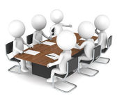3D little human characters X6 in the meeting room. Business series: Classic — Stock Photo