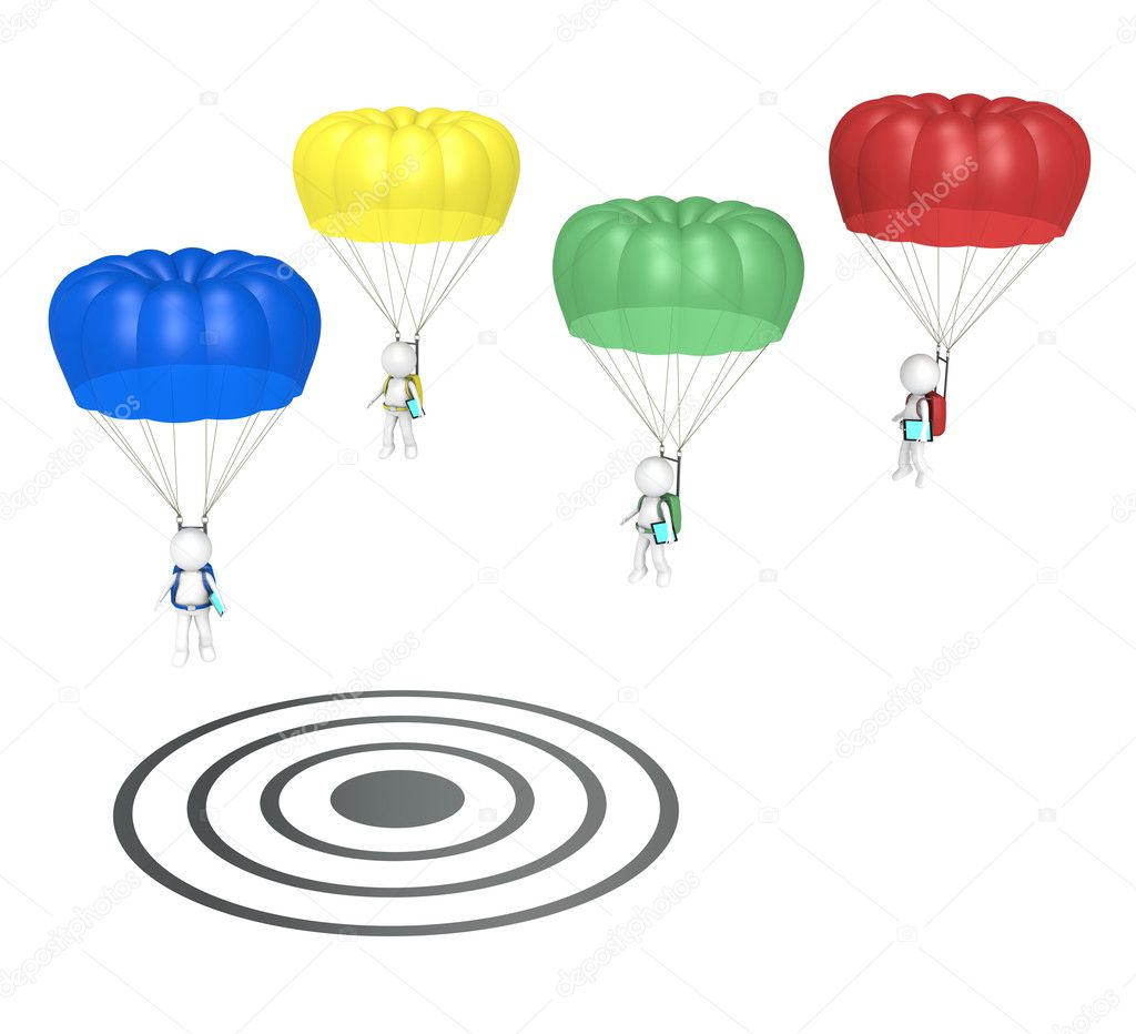 3D little human characters X 4 with Parachutes and Tablet Pad Computers. Landing on Target. series. — Stock Photo #9777015