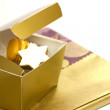 Cookies in a present box on a white background — Stock Photo