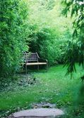 Bench in a japanese garden — Stock fotografie