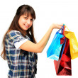 Young girl with shopping bags — Foto Stock