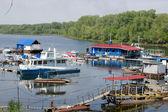 Boat station on the River Volga — Stock Photo