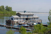 Boat station on the River Volga — Stock Photo