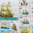 Old post stamps with ships — Stockfoto #9106219
