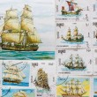 Old post stamps with ships — Stock Photo #9106219
