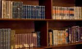 Collection of antique books line a bookshelf — Stock Photo