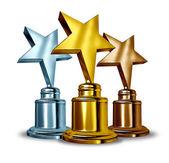 Star-onderscheiding trofeeën — Stockfoto