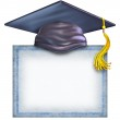 Graduation Hat With A Blank Diploma — Stock Photo