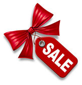 Sale Price Tag With red Ribbon Bow tie — Stock Photo