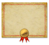 Blank Certificate With Gold Crest Ribbon — Stock Photo
