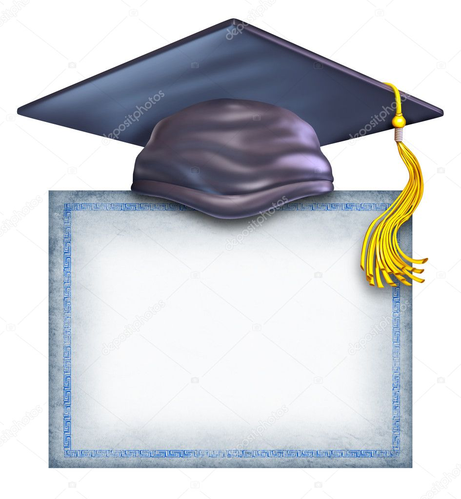 Graduation Hat And Certificate Graduation Hat With a Blank
