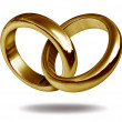 Love Rings in a Gold Heart Shape — Stock fotografie