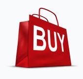 Kupię symbol torba na zakupy — Zdjęcie stockowe